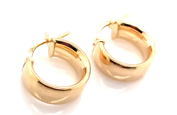 9CT YELLOW GOLD 6MM BAND 14MM HOOP CREOLE EARRINGS