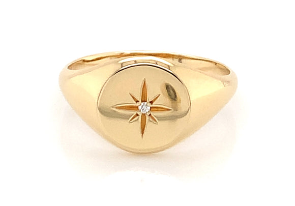 14ct Yellow Gold Signet Ring With 0.08ct Diamond