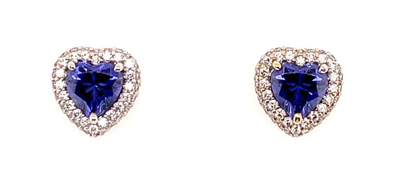 9ct White Gold Cz and Tanzanite Heart Stud Earrings
