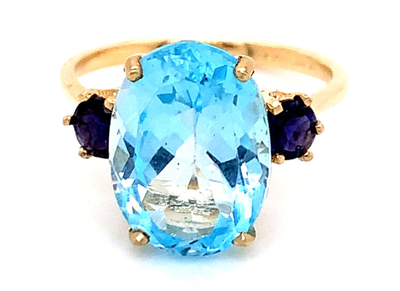 9ct Yellow Gold Blue Topaz And Sapphire Ring