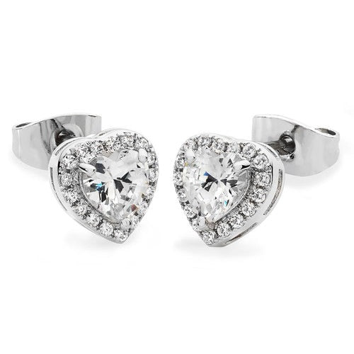 Tipperary Crystal Silver Diamante Heart Stud Earrings 109902