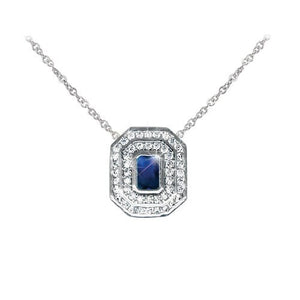 Tipperary Crystal Silver Pendant Sapphire & White Stone Surround Pendant 123717
