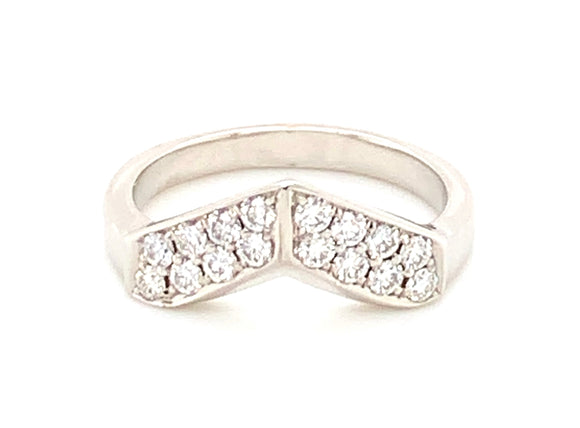 Platinum Double Row Shaped Diamond Band