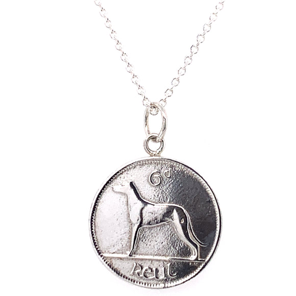 Tadgh Óg Solid Sterling Silver Grey Hound 6pence Irish Coin Pendant