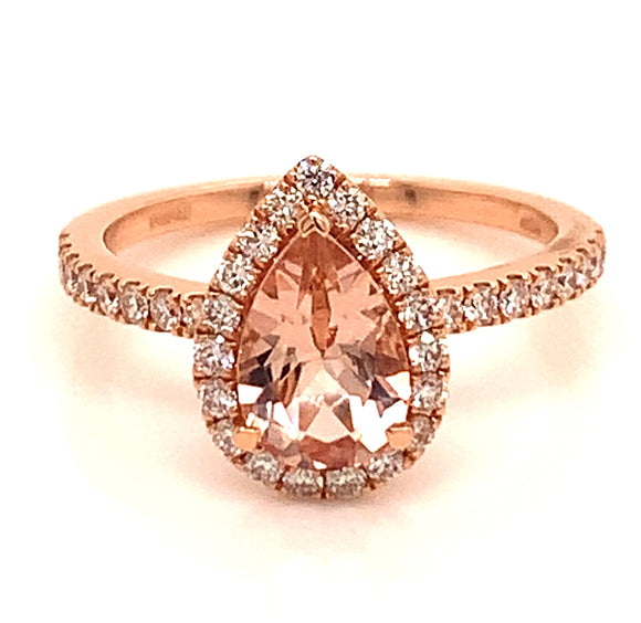 1.12 ct Morganite and Diamond Rose Gold Ring