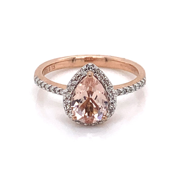 9ct Rose Gold Pear Morganite & Diamond Rose Gold Ring