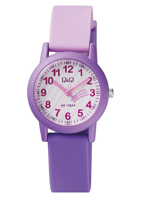 Q & Q Girls Purple Shooting Star Silicone Strap Watch