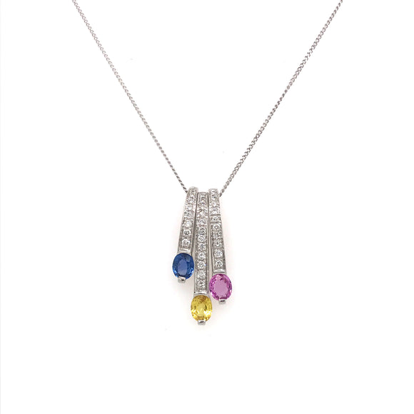 Three Colour Sapphire and Diamond Necklace