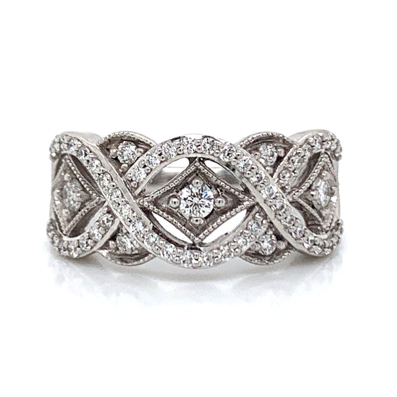 Detailed Design Diamond Band in 18ct White Gold