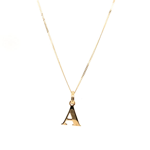 9ct Yellow Gold Plain Initial A Pendant