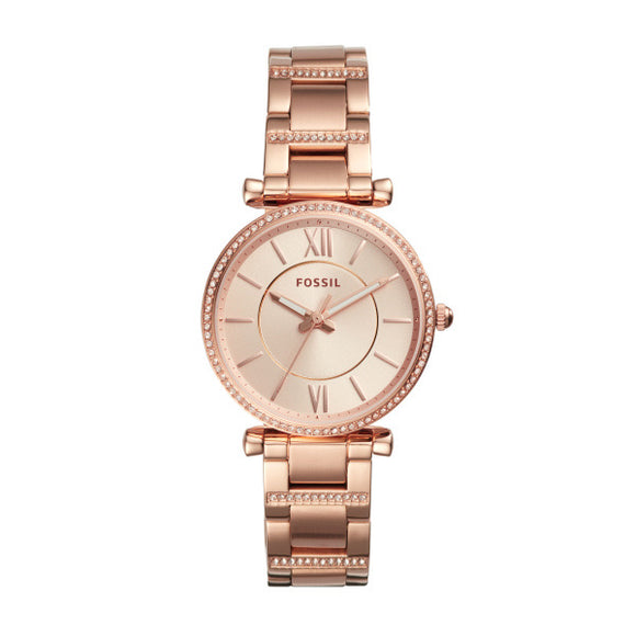 Fossil Carlie Three-Hand Rose-Gold-Tone Stainless Steel Watch