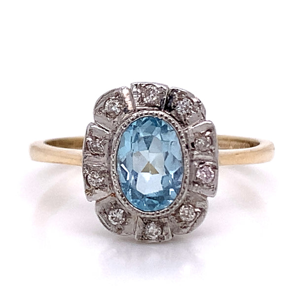 Oval Topaz in Art Deco Setting 9ct Gold