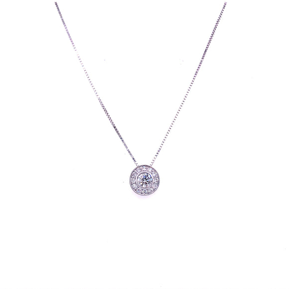 9ct White Gold Milgrain Edge Diamond Halo Pendant