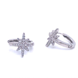 Sterling silver Cz Star Hoops