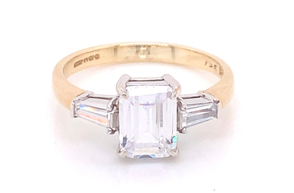 9ct Yellow Gold Emerald Cut Cz With Side Tapered Baguette Stones