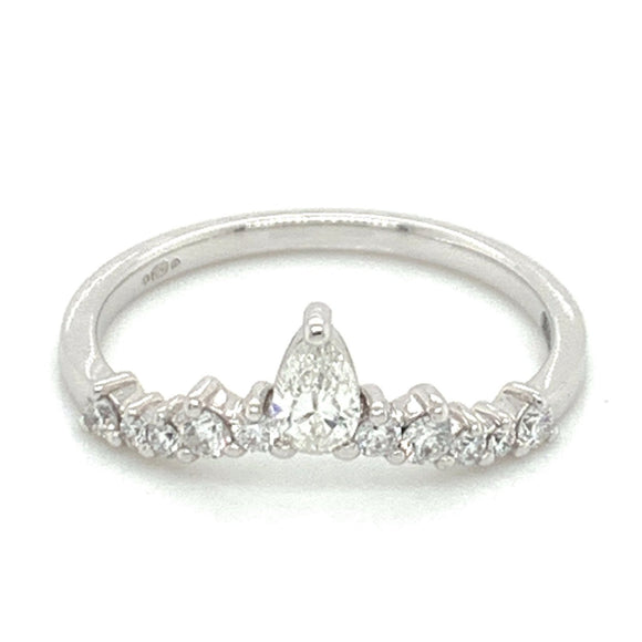18ct White Gold Princess Crown Diamond Band