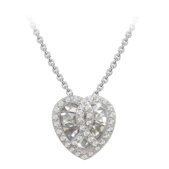 Tipperary Crystal Silver Heart Pendant With Clear Stone