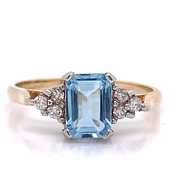 Emerald Cut Topaz with Diamond Trio 9ct Gold