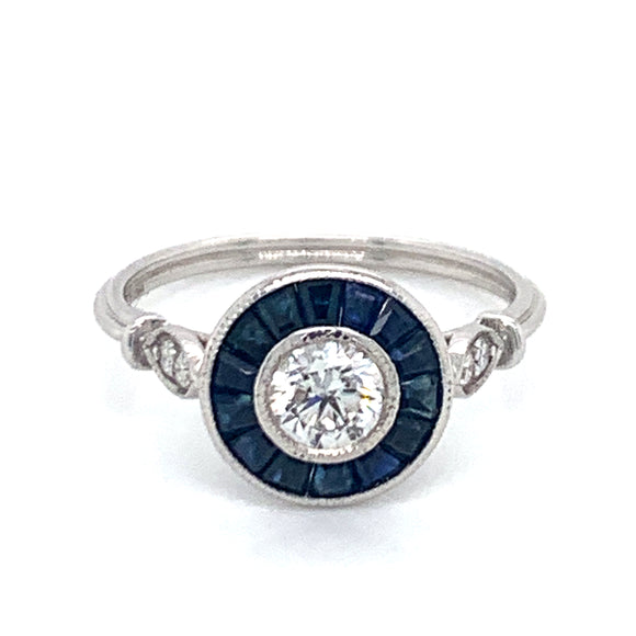 0.50ct Diamond and 0.80ct Tappered Sapphire Vintage Style 18ct White Gold Ring