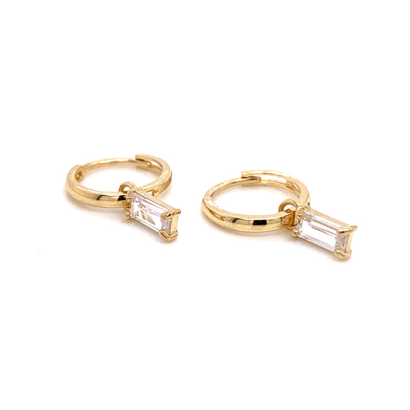 9ct Gold Hoops With Detachable Baguette Charm