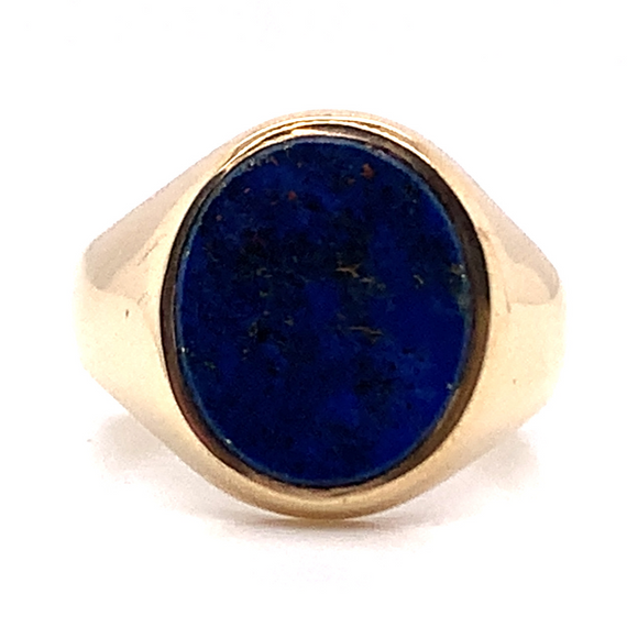 9ct Yellow Gold Blue Stone Gents Signet Ring