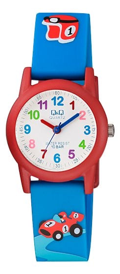 Q & Q Boys Blue And Red Racing Car Silicone Strap Watch