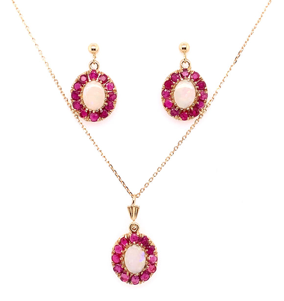 9ct Yellow Gold Ruby And Opal Pendant And Earring Set