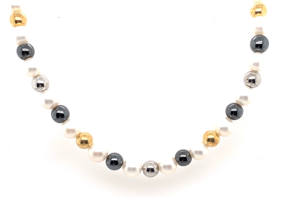 Sterling Silver Cultured Pearl And Beaded Necklace