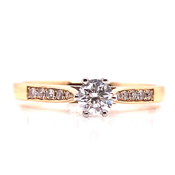 18ct Rose Gold Solitaire with Pave Set Shoulder Diamond Engagment Ring