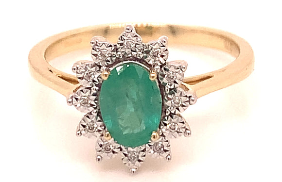 1.06ct Emerald & Diamond Yellow Gold Ring