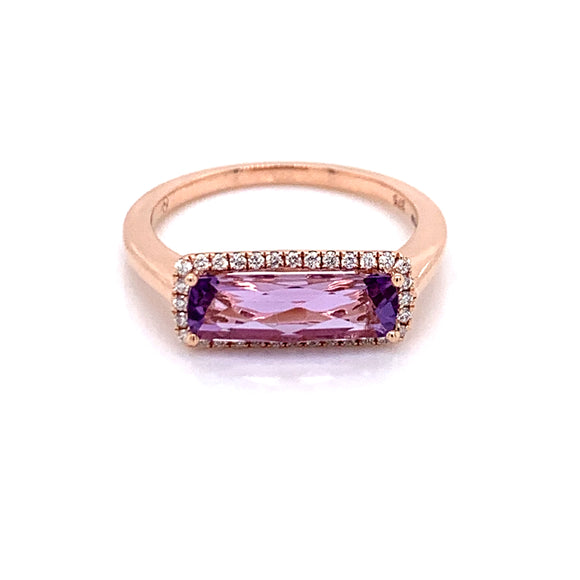 9ct Rose Gold Diamond & 1.32ct Rose De France Amethyst Ring