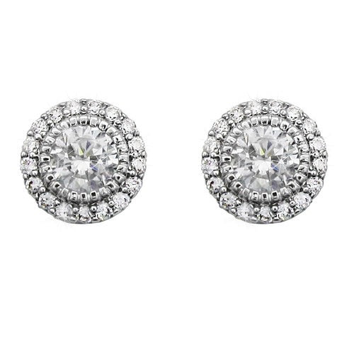 Tipperary Crystal Silver Stud Cz With Pave Surround Earrings