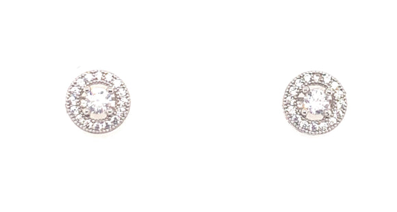 Sterling Silver Cz Halo Stud Earrings Small