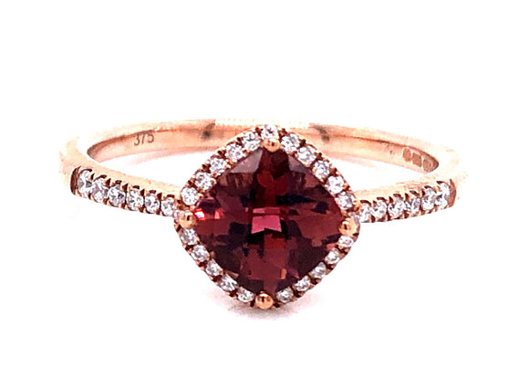 9ct Rose Gold Pink Tourmaline And Diamond Ring