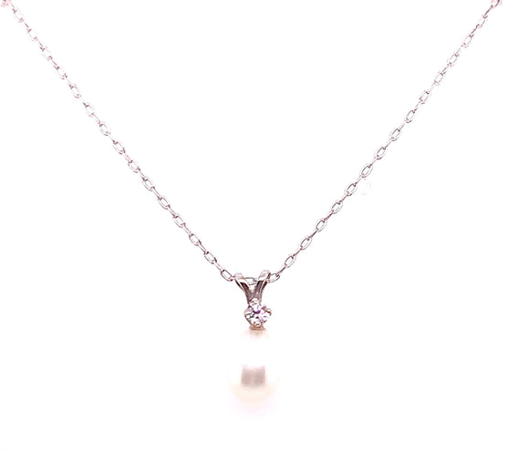 Sterling Silver Pearl And Cz Drop Pendant