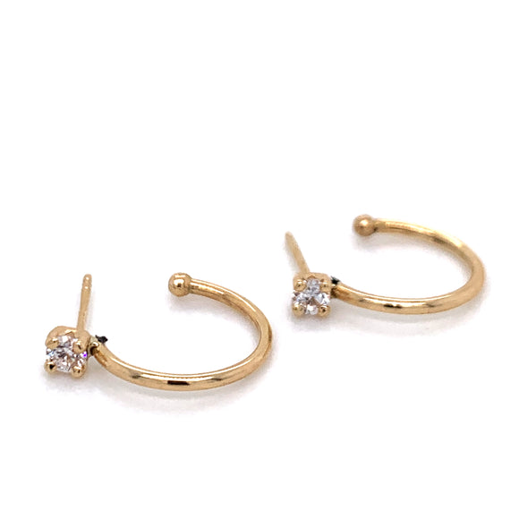 Cz stud and hoop Earrings 9ct gold