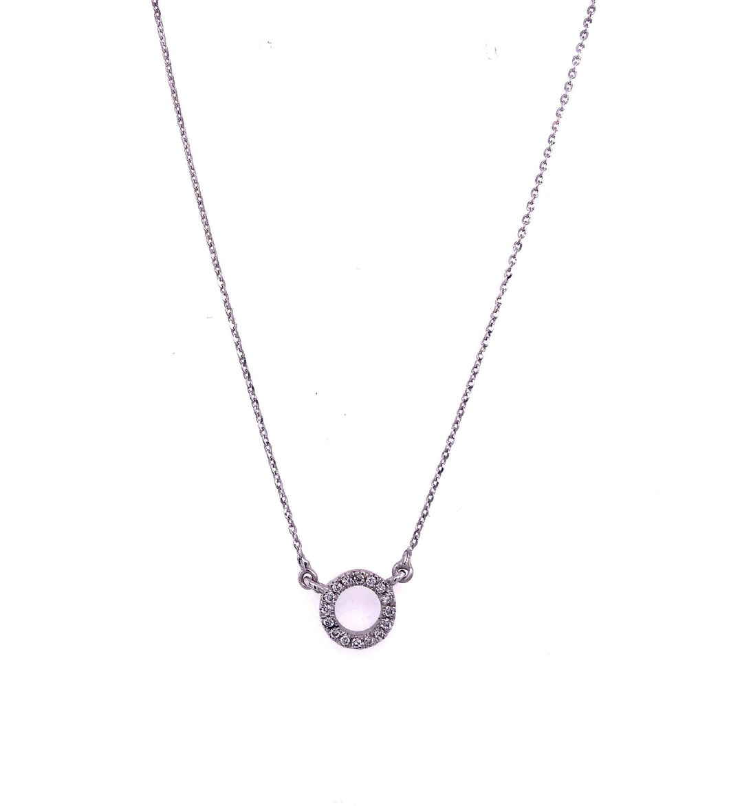 18ct White Gold Open Circle Diamond Necklet