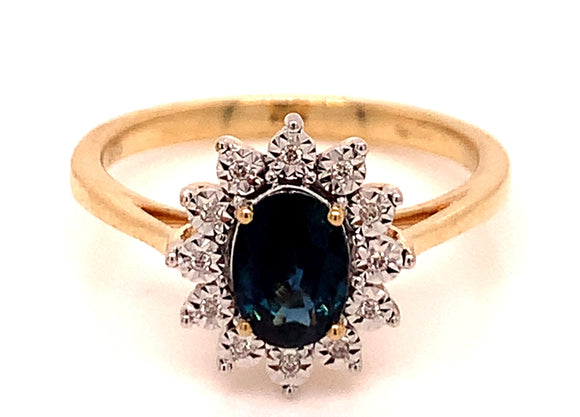 1.06CT SAPPHIRE & DIAMOND YELLOW GOLD RING