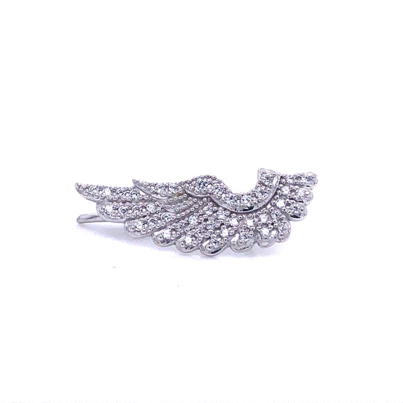 Sterling Silver Cz Angel Wing Creeper