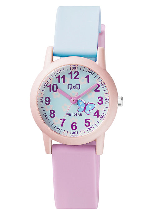 Q & Q Baby Blue And Pink Butterfly Watch With Silicone Strap