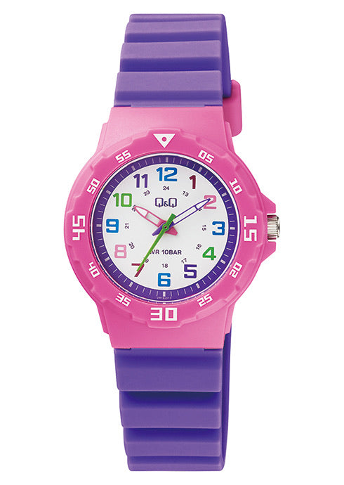 Q & Q Girls Purple And Pink Silicone Strap Watch