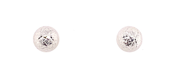 9ct White Gold 8mm Crazy Dome Stud Earrings