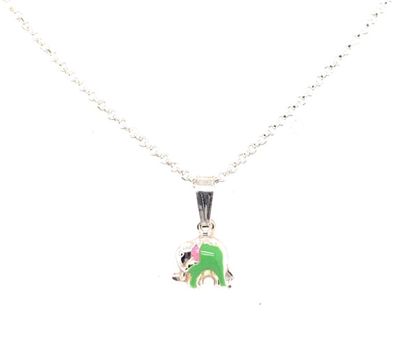 Sterling Silver Green Elephant Pendant