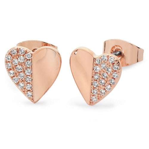 Tipperary Crystal Rose Demi Pave Heart Earrings 109872