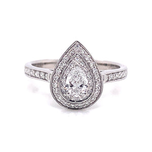 Platinum Double Halo Pear Shape Ring