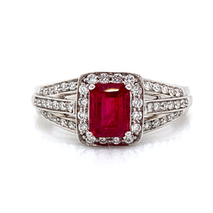 Emerald Cut .75ct Ruby in Triple Shank .35ct Pave set Diamond 18ct White Gold Ring