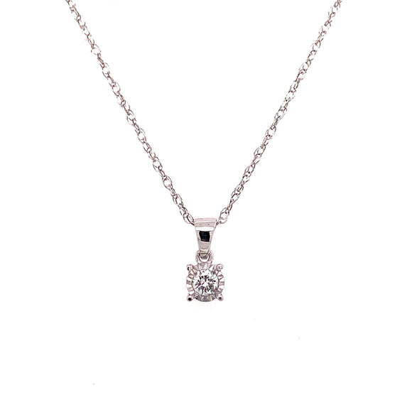 9ct White Gold Diamond Solitaire Pendant Necklace