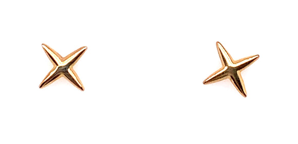 9ct Yellow Gold X Stud Earrings