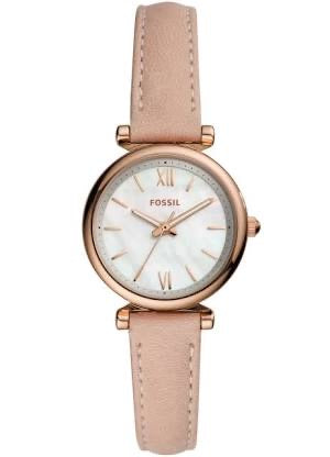Fossil Carlie Mini Blush Leather Strap Ladies Watch ES4699