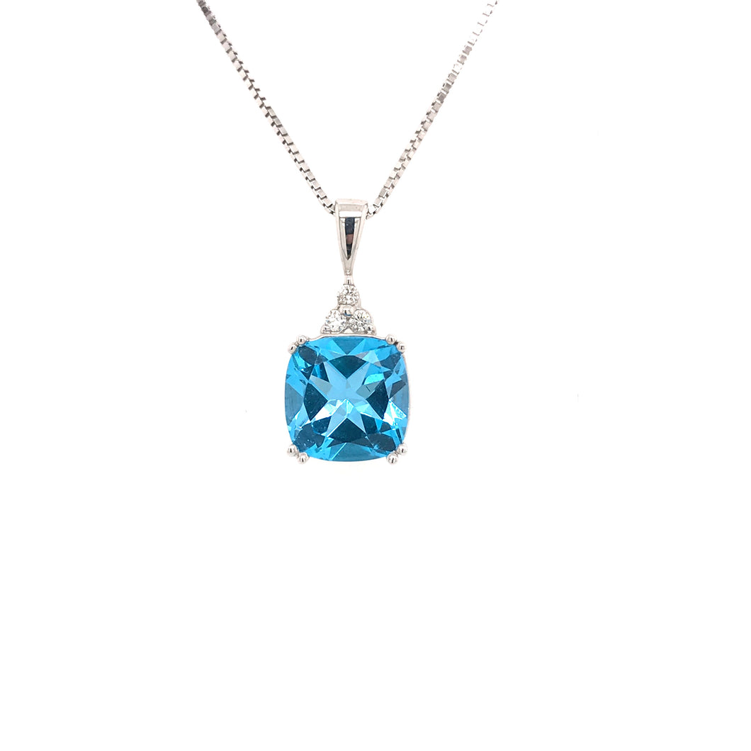 9ct White Gold and Blue Topaz